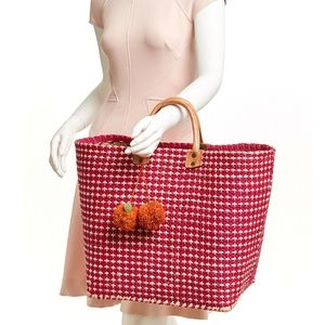 49e5f83f1 MAR Y SOL Hadley Pink Straw & Leather Tote Bag